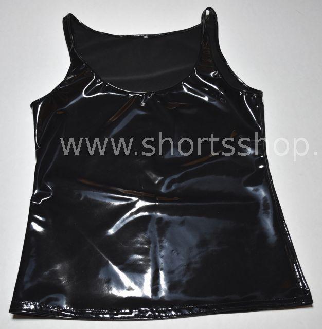 Schwarzes Shirt aus glänzendem Lackmaterial