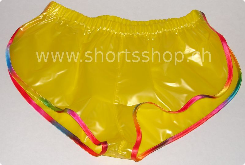 PVC-Shorts Andreas gelb mit regenbogenfarbiger Einfassung