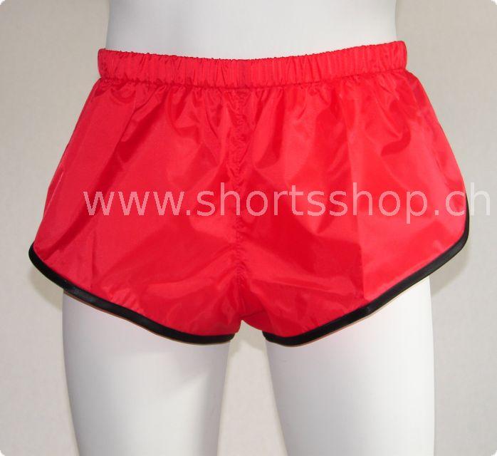 Nylon-Shorts Andreas rot mit schwarzer Einfassung