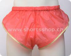 PVC-Shorts Chris rot mit goldfarbiger Einfassung