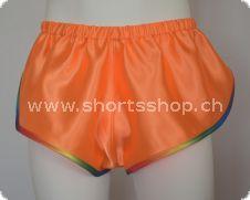 Chris Shorts orange mit regenbogenfarbiger Einfassung