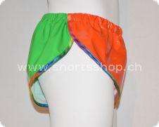 Lackshorts Chris orange/grün mit regenbogen Einfassung