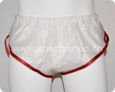 Feste PVC-Shorts Chris weiss mit roter Einfassung