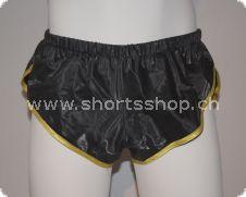 Feste PVC-Shorts Chris schwarz mit gelber Einfassung