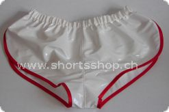 Lackshorts Andreas weiss mit roter Einfassung
