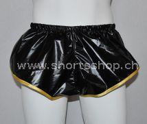 Nylon Shorts neongrün, orange, rot, schwarz aus leichtem, hochglänzendem Gewebe