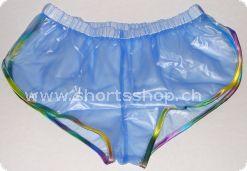 PVC-Shorts Andreas transparentblau mit regenbogenfarbiger Einfas