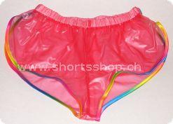 PVC-Shorts Andreas hellrot mit regenbogenfarbiger Einfassung