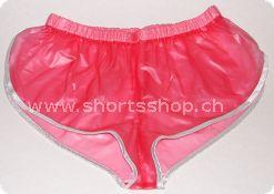 PVC-Shorts Andreas hellrot mit silberfarbiger Einfassung