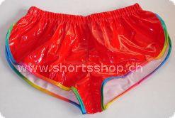 Lackshorts Andreas rot mit regenbogenfarbiger Einfassung