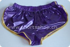 PVC-Shorts Andreas violett mit gelber Einfassung