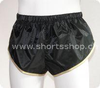 Andreas Ripstop-Shorts schwarz mit goldfarbenen Einfassung