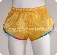 Andreas Ripstop-Shorts gelb mit regenbogenfarbenen Einfassung