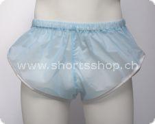 PVC-Shorts Chris hellblau mit silberfarbiger Einfassung